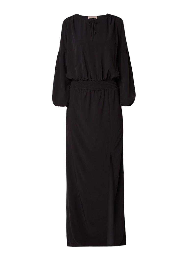 LaDress Maxi-jurk met key-hole en gesmockt detail zwart