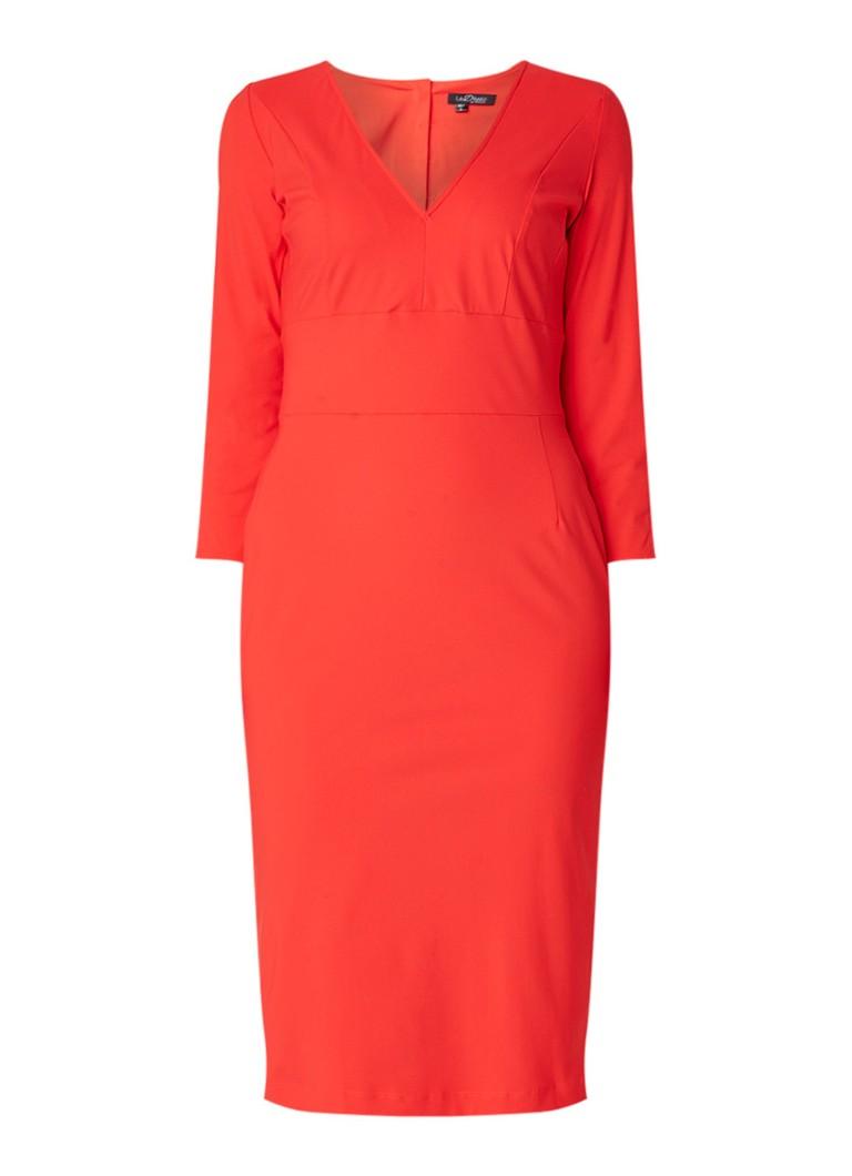 LaDress Elizabeth midi-jurk van jersey met V-hals koraal