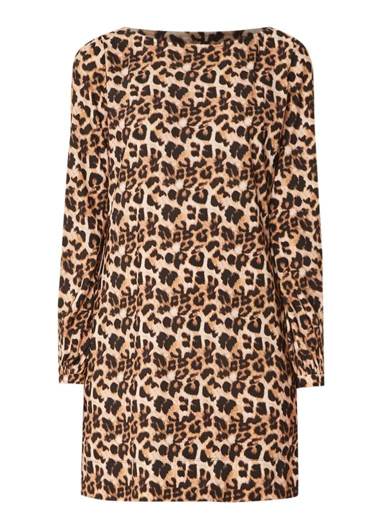 LaDress Blake mini-jurk met luipaardprint en stretch lichtbruin