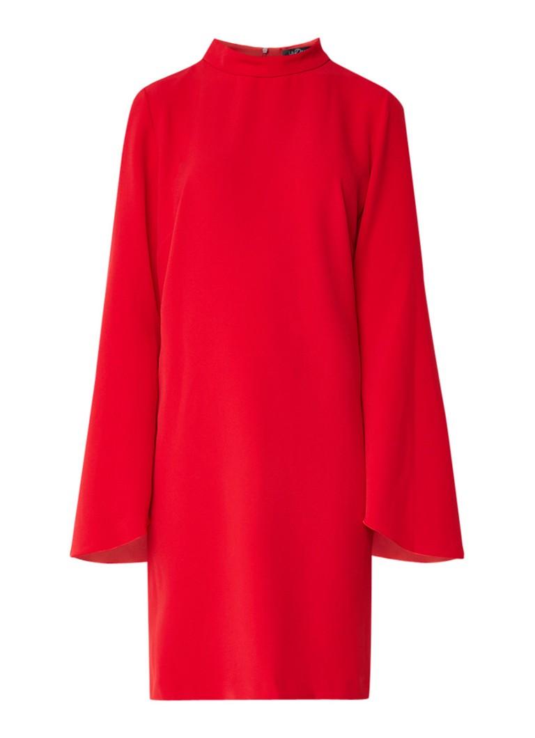 LaDress Indira midi-jurk van crêpe met flared mouw rood