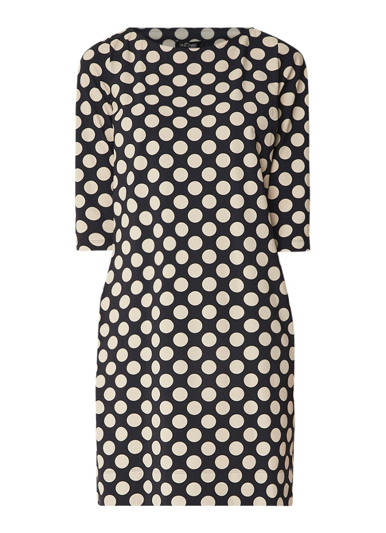 LaDress Lianne gestipte midi-jurk met driekwartmouw zwart