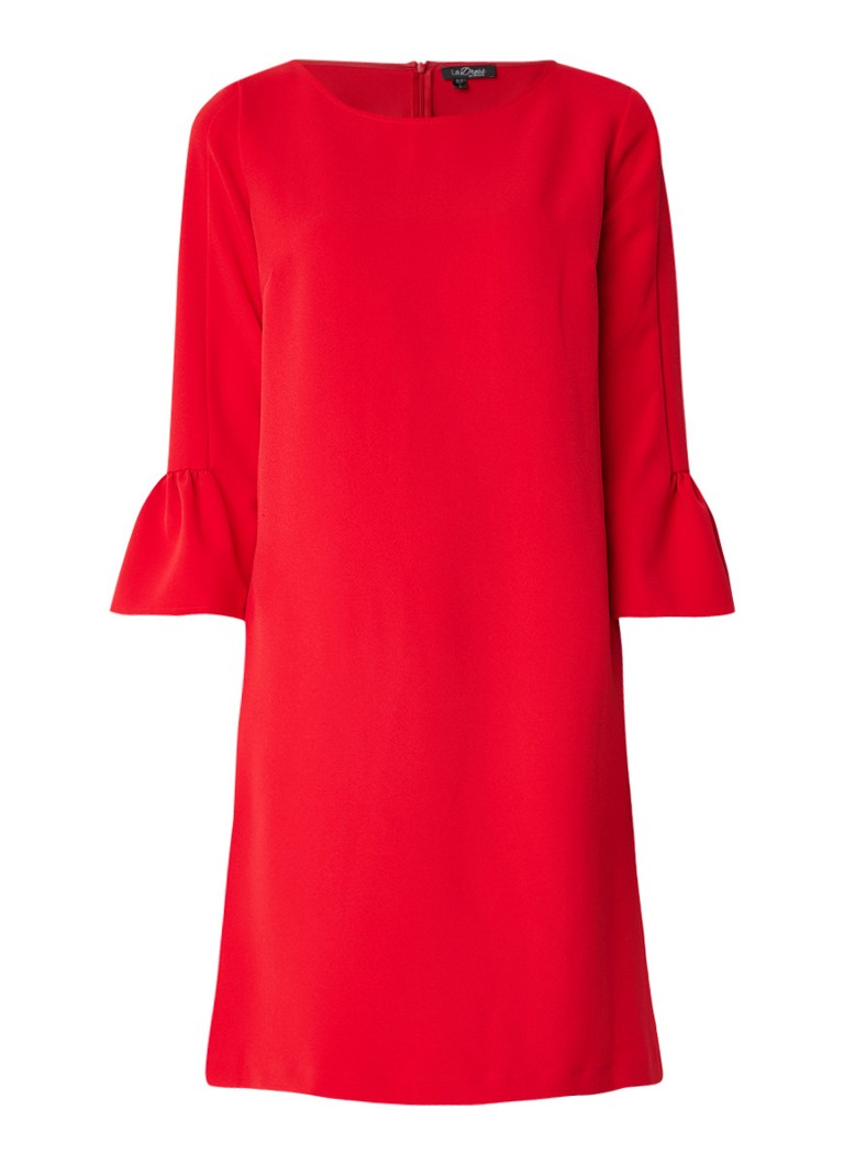 LaDress Barbra loose fit midi-jurk met driekwart trompetmouw rood