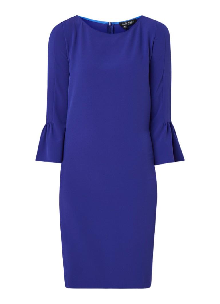 LaDress Barbra A-lijn jurk met trompetmouw kobaltblauw