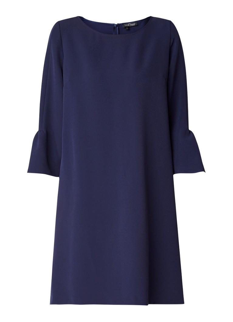 LaDress Barbra tuniekjurk met trompetmouw donkerblauw
