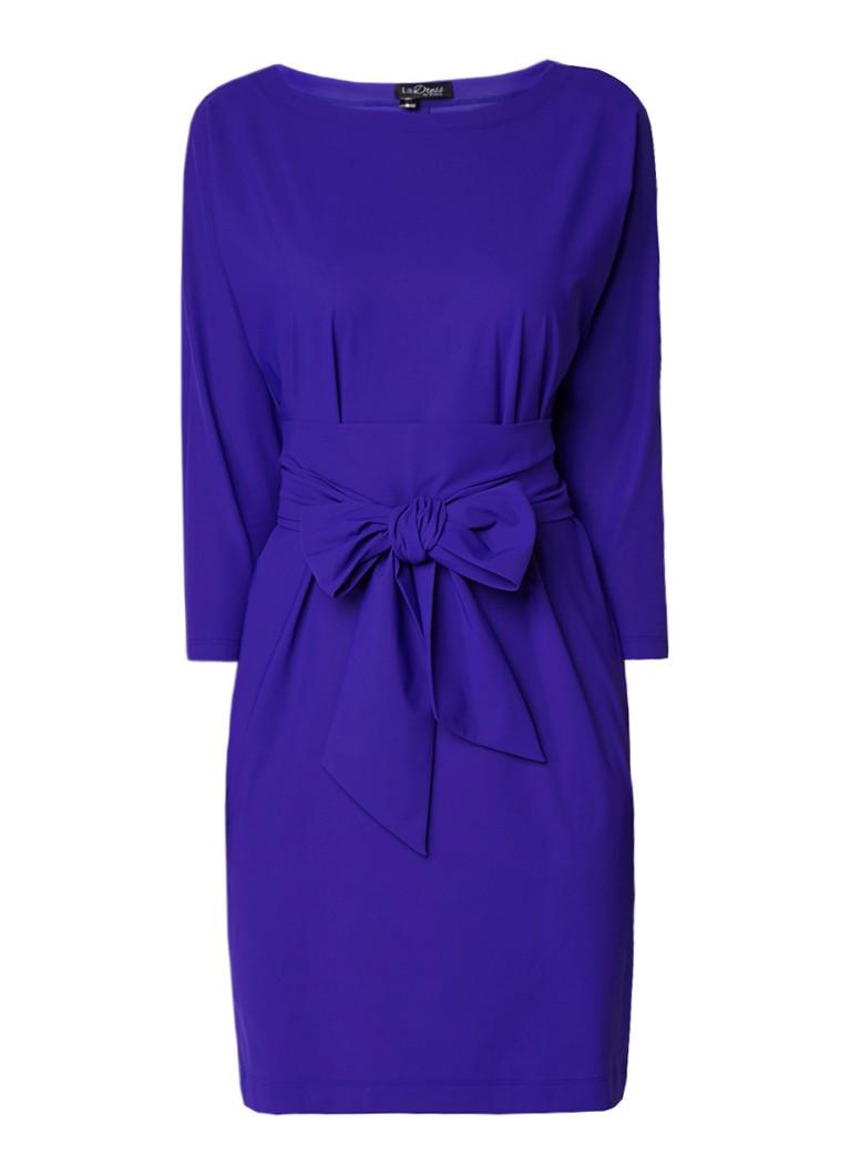 LaDress Carla jersey jurk met strikceintuur kobaltblauw