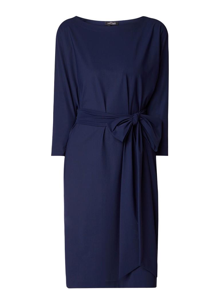 LaDress Caroline jurk van jersey met strikceintuur donkerblauw