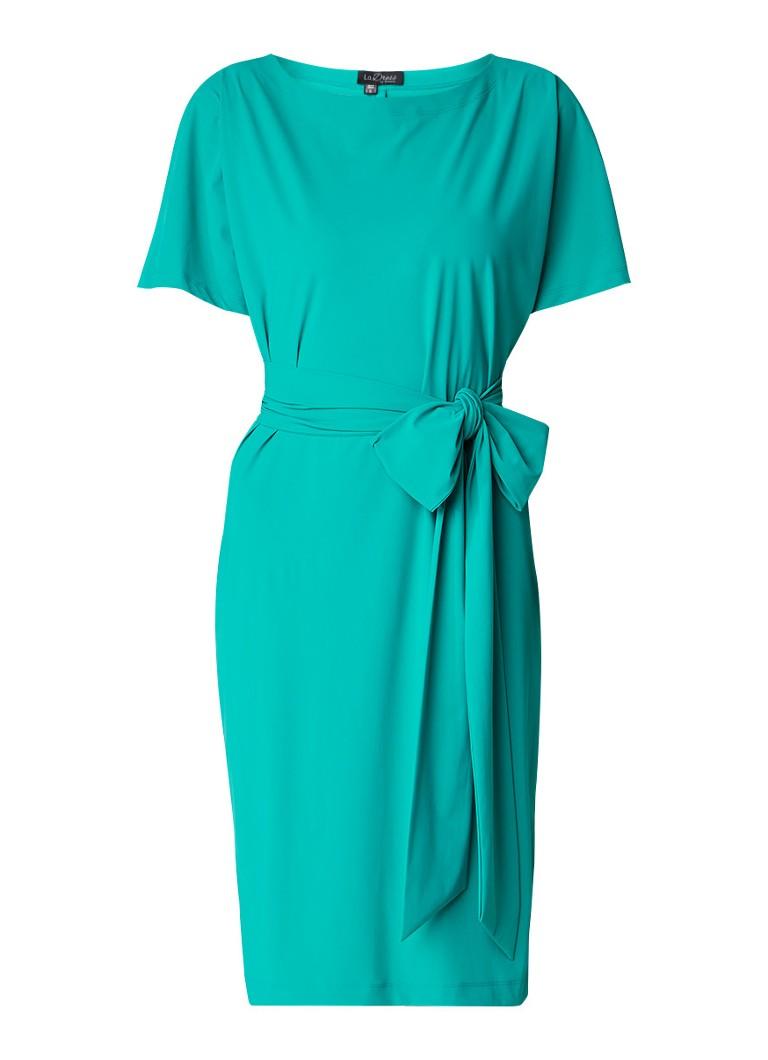 LaDress Aretha jurk van jersey met strikceintuur turquoise