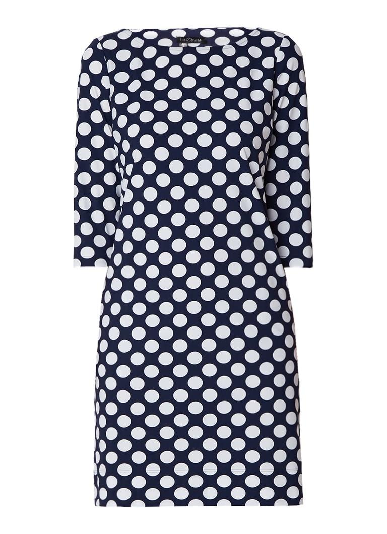 LaDress Lianne jersey jurk met driekwart mouw en polkadots donkerblauw