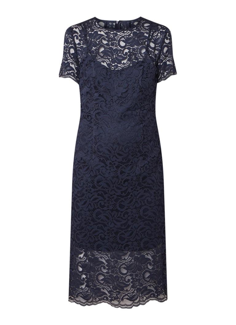 LaDress Adriana midi-jurk van kant donkerblauw
