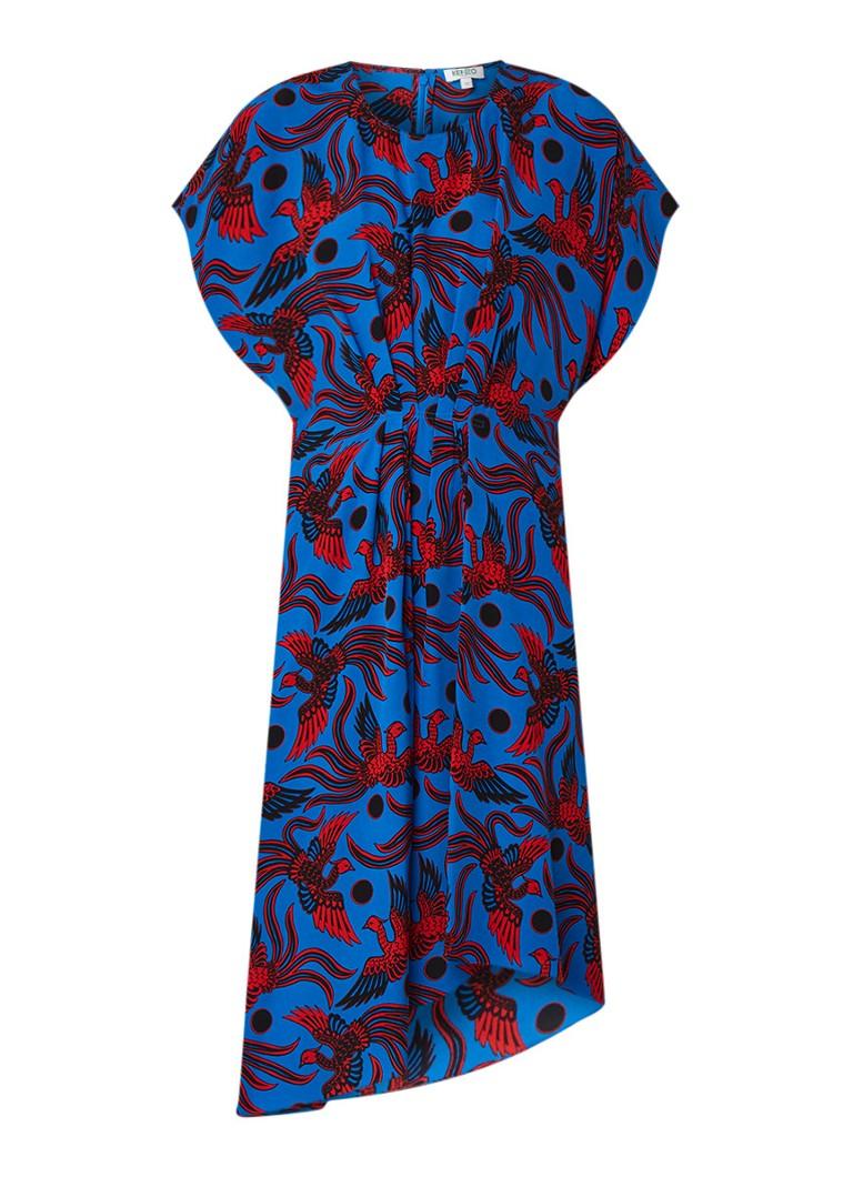KENZO Flying Phoenix loose fit jurk van zijde met dessin kobaltblauw