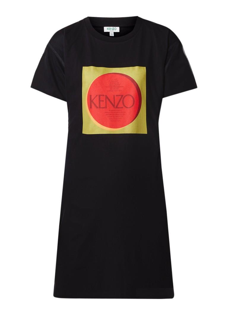 KENZO T-shirt jurk met overlay van tule en logoprint zwart