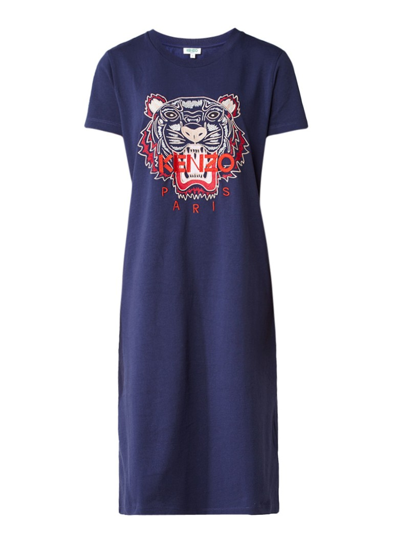 Kenzo Tiger T-shirt jurk met borduursel donkerblauw