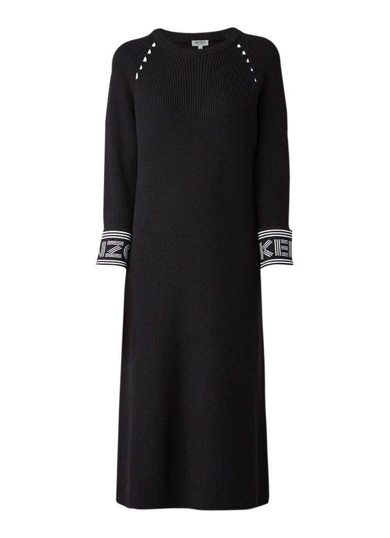 KENZO Gebreide midi-jurk met logo-manchet zwart