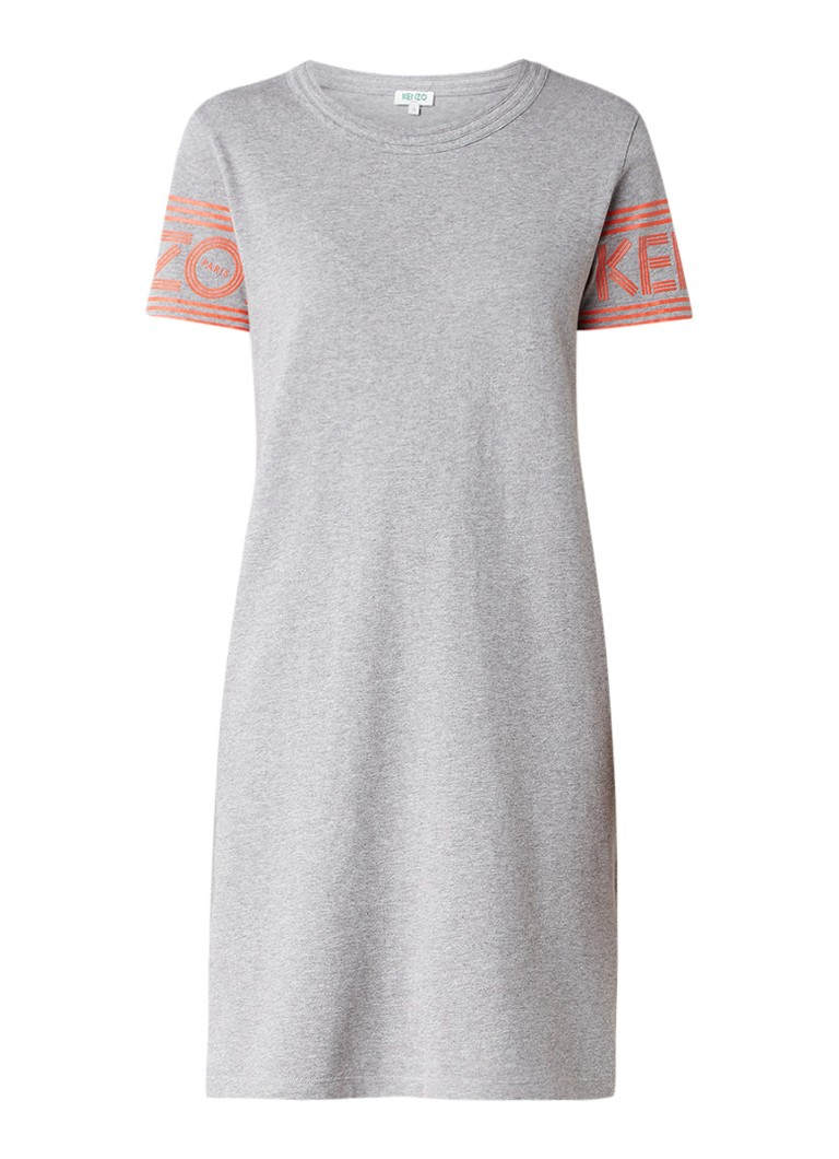 KENZO Skate T-shirt jurk met logoprint grijsmele