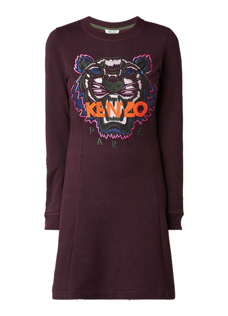 KENZO Tiger sweaterjurk met logoborduring aubergine