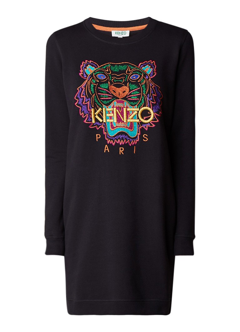KENZO Tiger sweatdress met borduring van lurex zwart