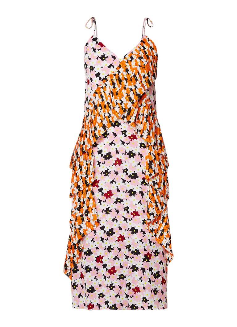 KENZO Jackie jurk met ruches en bloemendessin roze