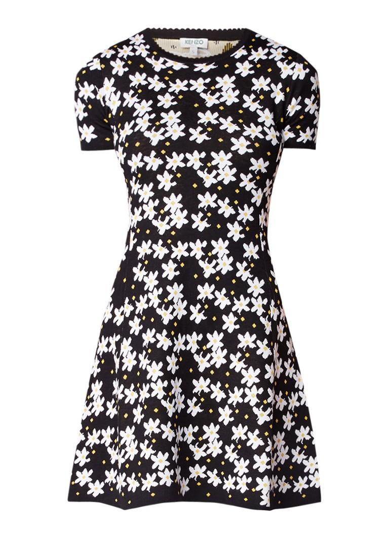 KENZO Jackie gebreide jurk met bloemendessin zwart