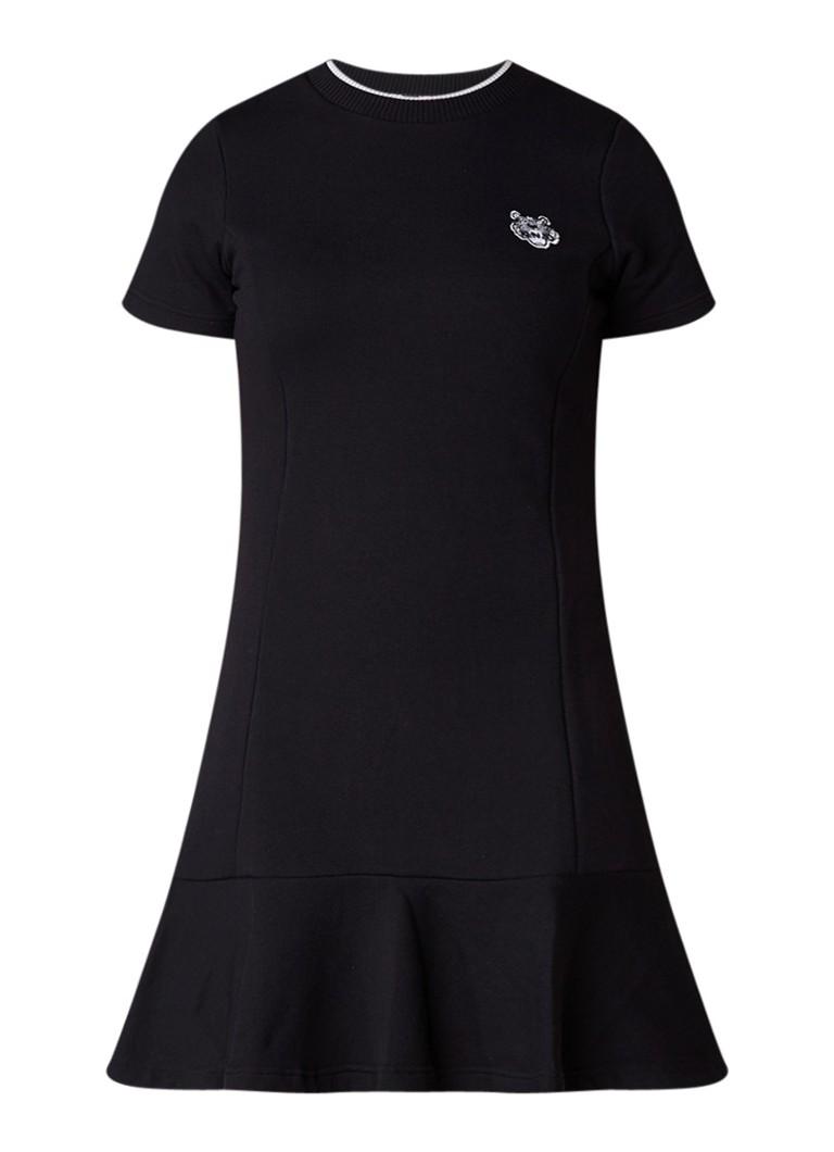 KENZO Tiger jurk van jersey met patch zwart
