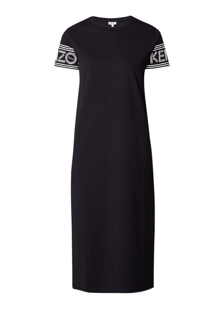 KENZO Midi-jurk van jersey met logoprint zwart