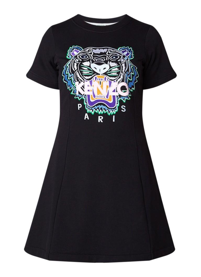 KENZO Tiger jurk van jersey met logoborduring zwart