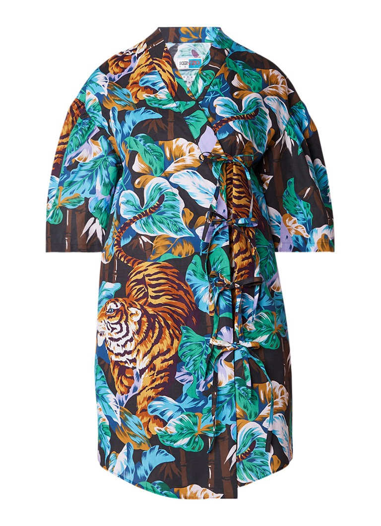 KENZO Collection Memento N°2 kimono wikkeljurk met knoopdetail en botanische print middenblauw