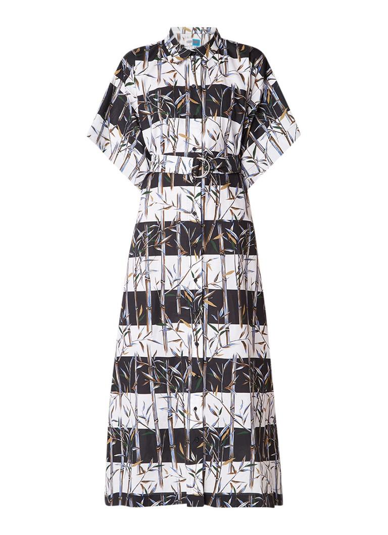 KENZO Blousejurk in linnenblend met ceintuur en bamboe print zwart