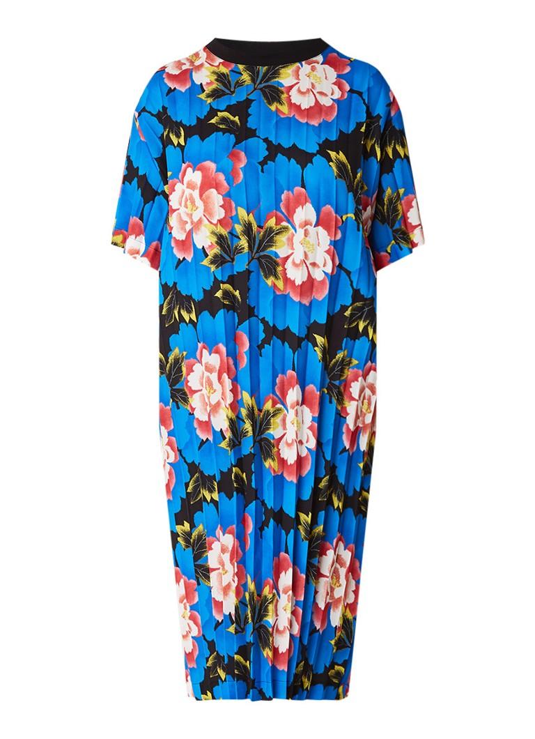 KENZO Indonesian Flower midi-jurk met plissé en bloemendessin kobaltblauw