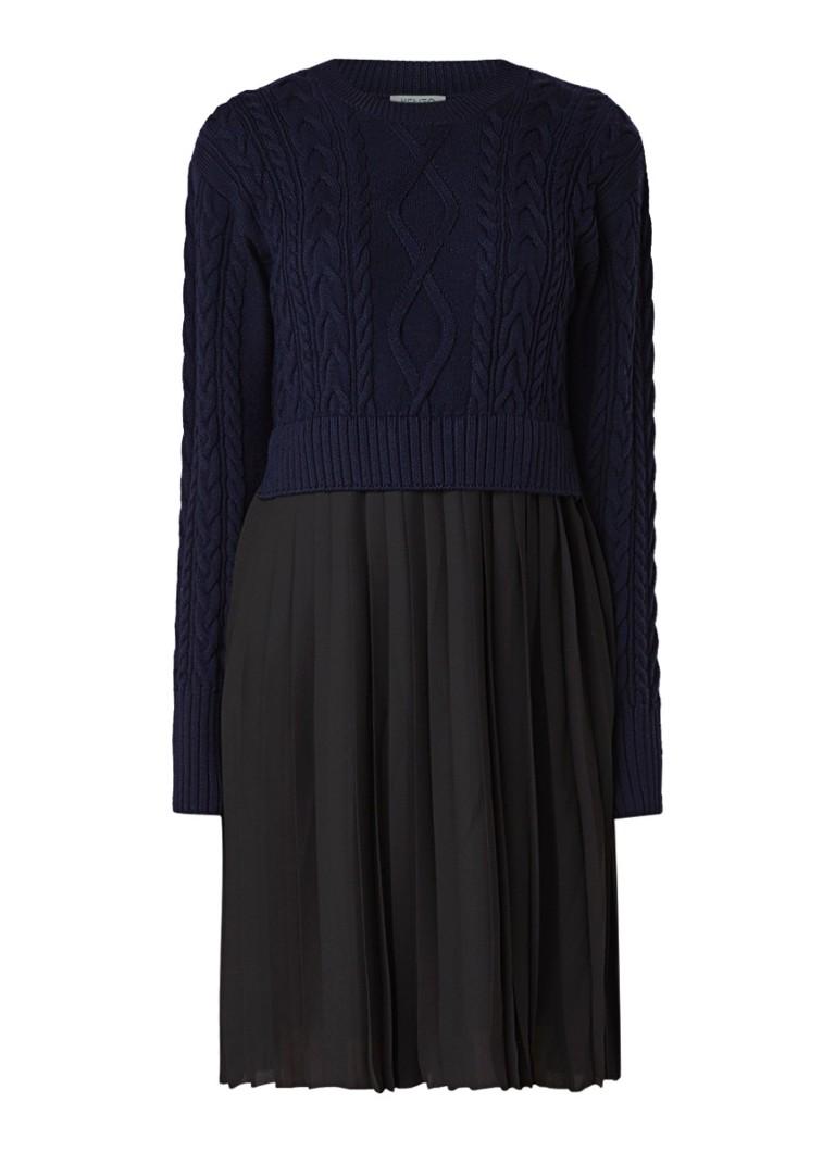 KENZO Gebreide jurk met plissé rok zwart