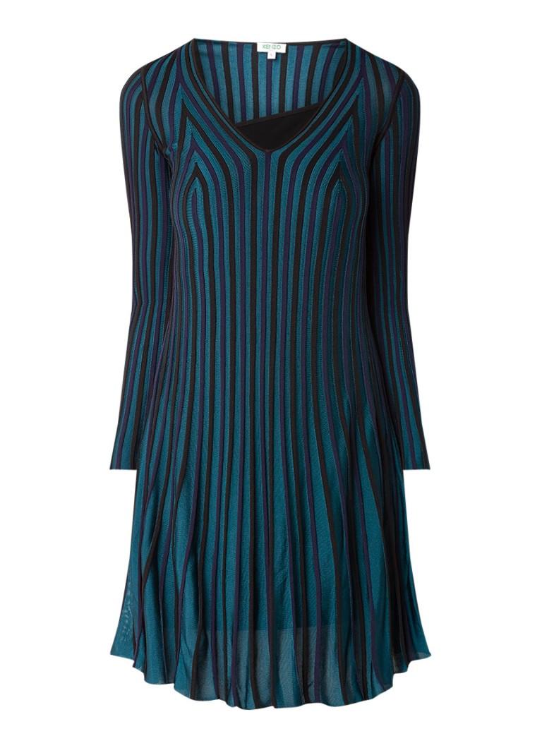 KENZO Pleated Knit ribgebreide midi-jurk met plissé zeegroen