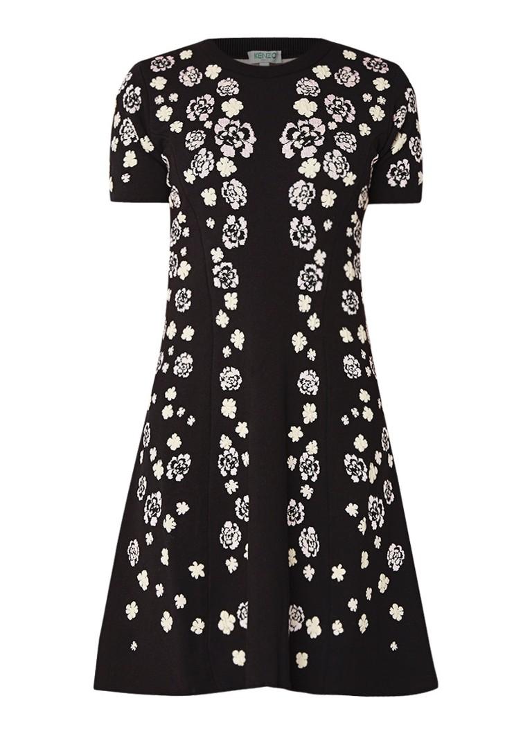 KENZO Cheongsam Flower A-lijn jurk met bloemenborduring zwart