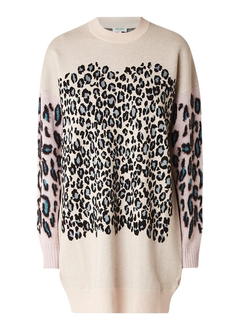 KENZO Leopard fijngebreide trui-jurk met luipaard dessin camel
