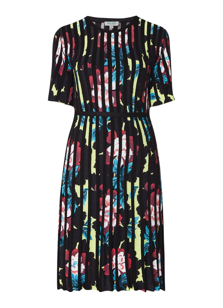 KENZO Indo Flower fijngebreide jurk met bloemendessin zwart