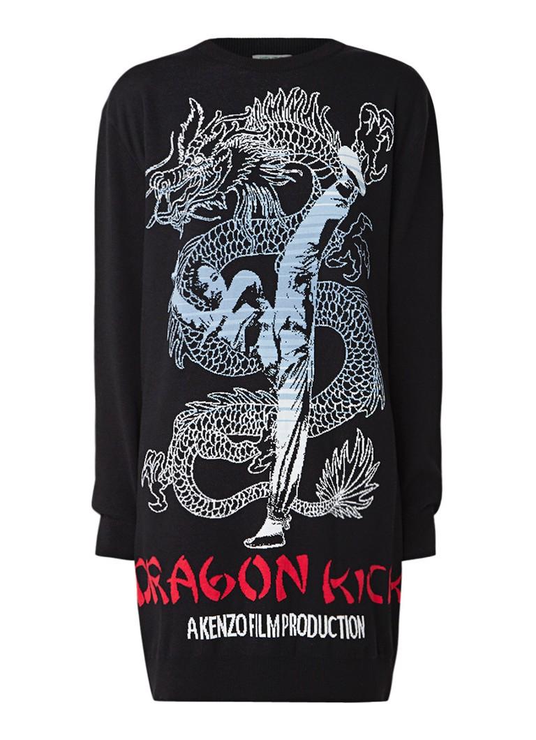 KENZO Dragon fijngebreide jurk in wolblend zwart