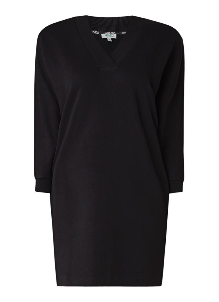 KENZO Sweaterjurk met V-hals en logoprint zwart