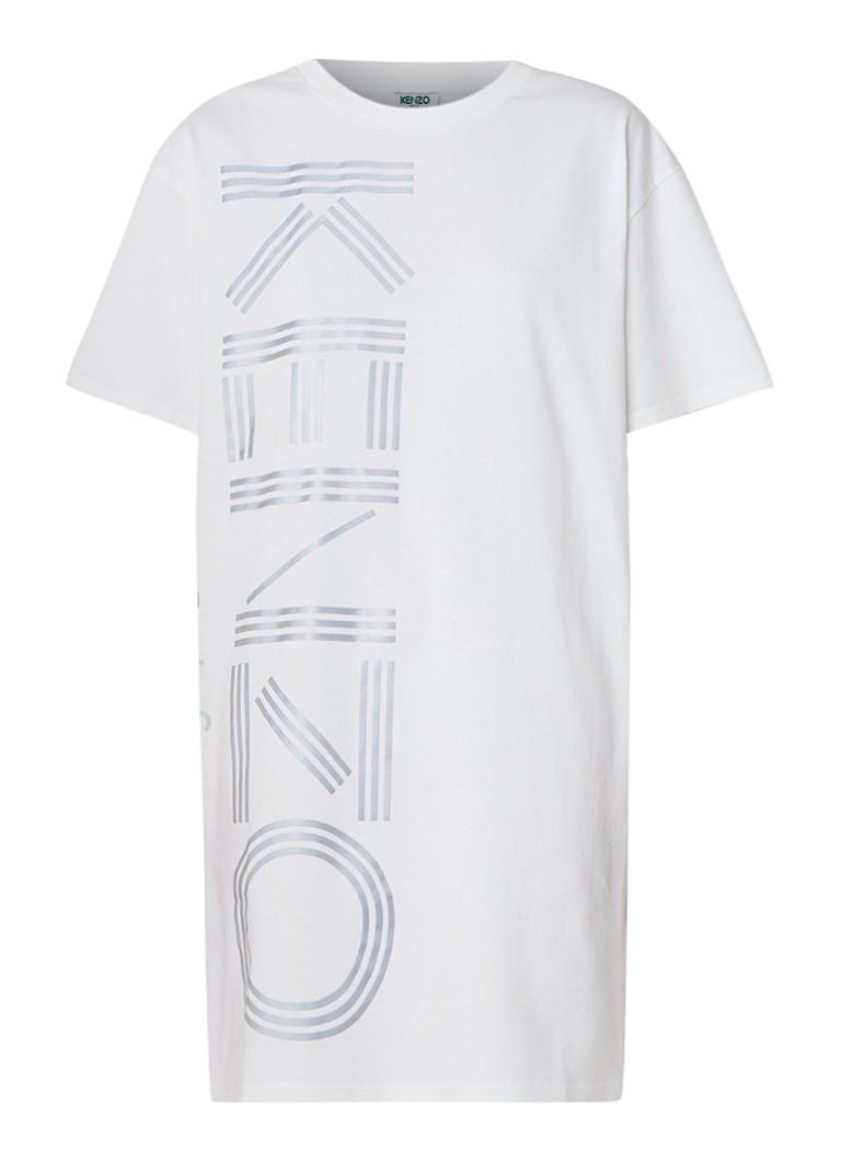 KENZO T-shirt jurk met reflecterende logoprint wit