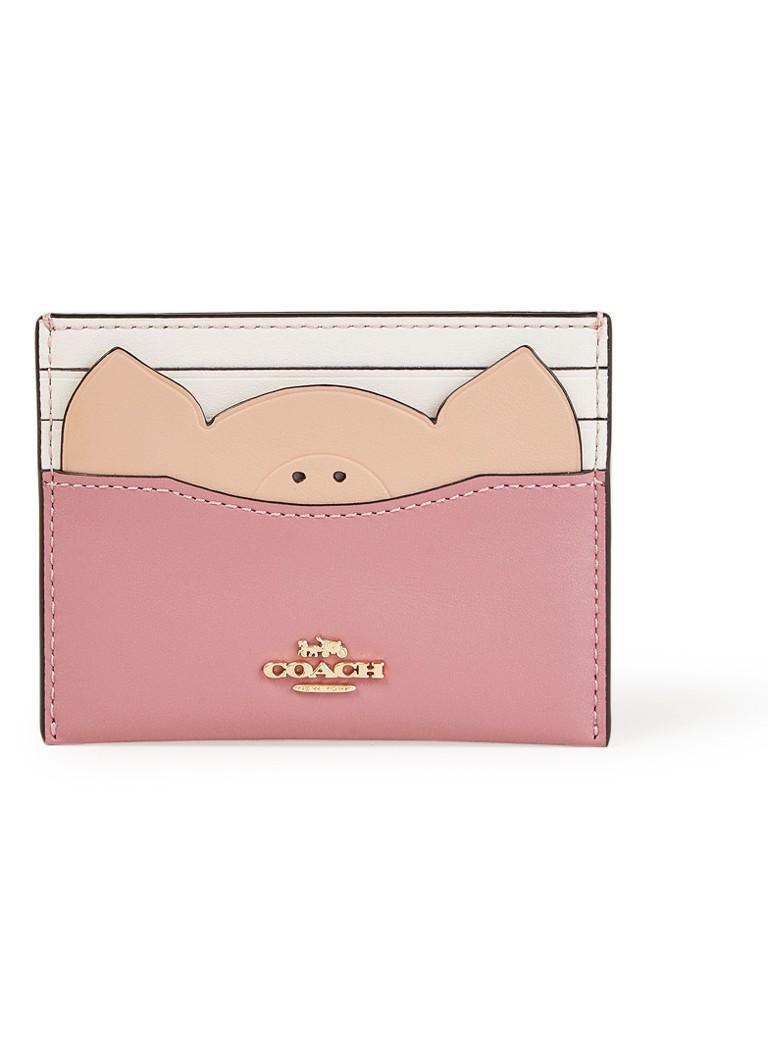 Coach Pig creditcardetui van kalfsleer