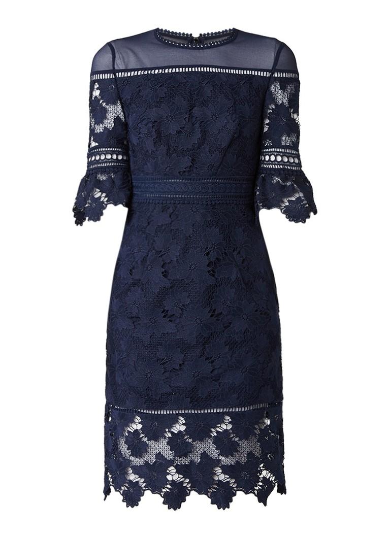 Whistles Amanda jurk van kant met semi-transparante details royalblauw