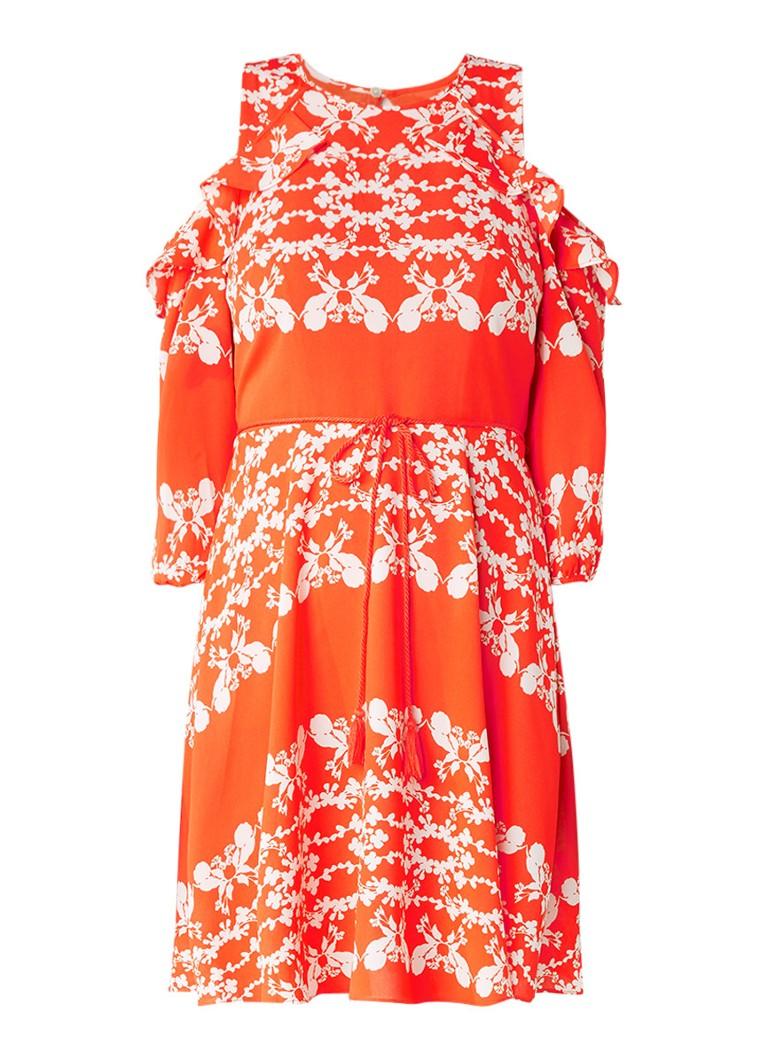 Whistles Aldora cold shoulder jurk met bloemendessin oranjerood