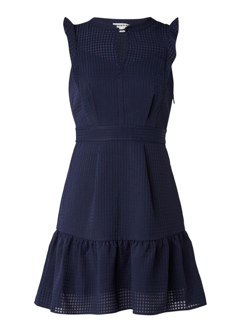 Whistles Raechelle mouwloze A-lijn jurk met ingeweven structuur donkerblauw