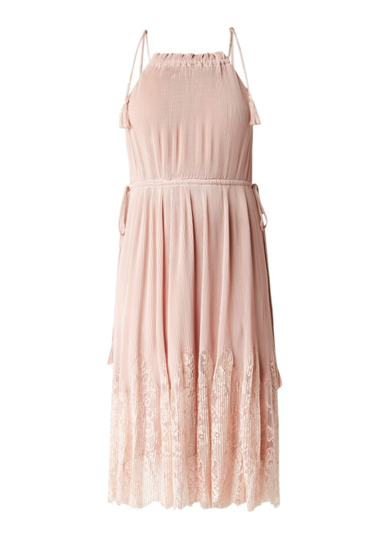 Whistles Lilian maxi-jurk met plissé en kant oudroze