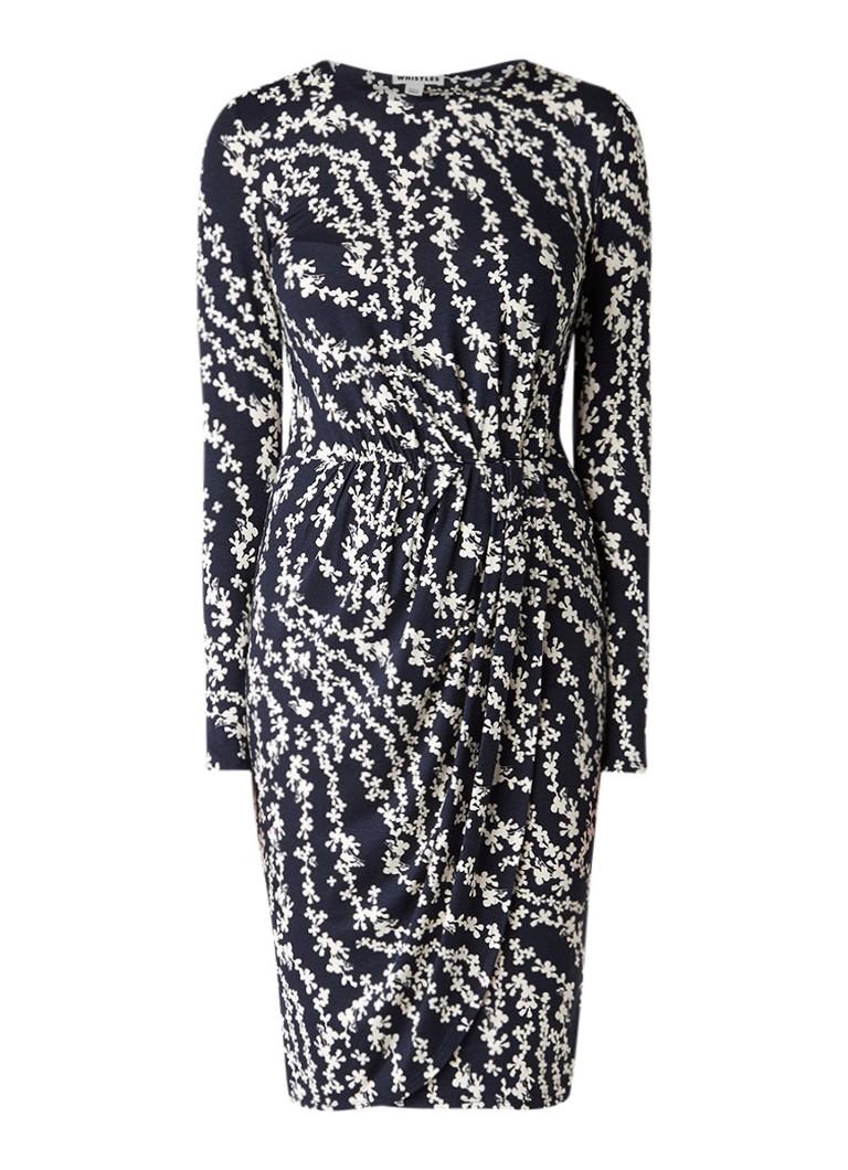 Whistles Danah jersey midi-jurk met bloemendessin donkerblauw