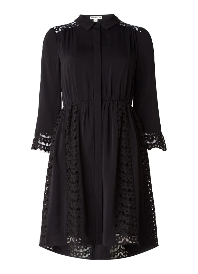 Whistles Lizzie blousejurk met kanten details zwart