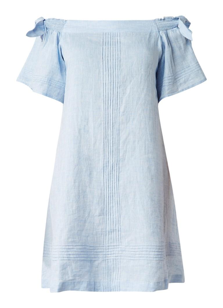 Whistles Lila off shoulder jurk van linnen met strikdetails lichtblauw
