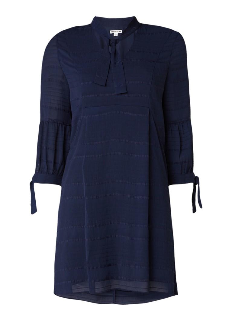 Whistles Joanna tuniekjurk met ingeweven streepdessin en strikdetail donkerblauw