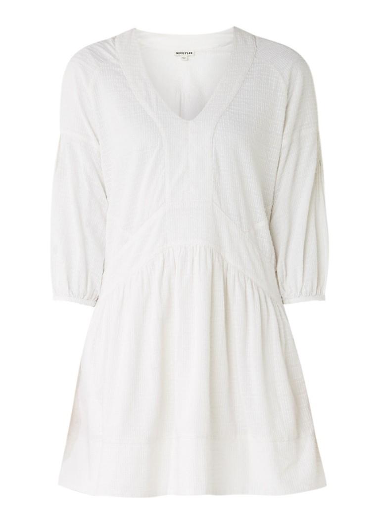 Whistles Charlie A-lijn jurk van katoen met ingeweven structuur gebroken wit