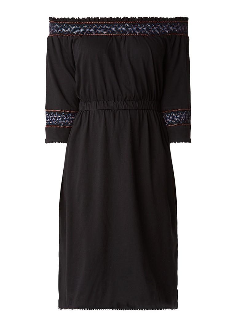 Whistles Embroidered off shoulder A-lijn jurk van katoen zwart