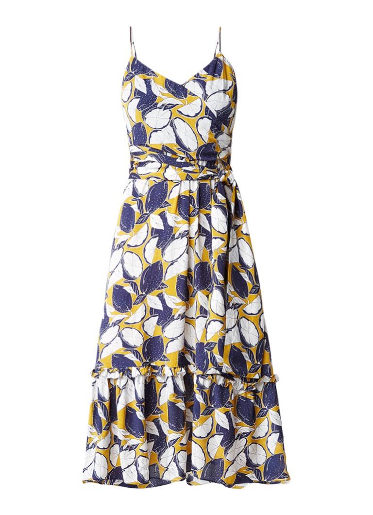 Whistles Lemon midi-jurk met citroenprint en strikceintuur mosterd