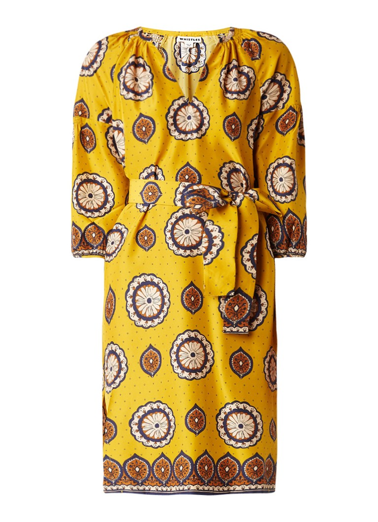 Whistles Tahlia tuniekjurk van zijde met dessin en strikceintuur geel