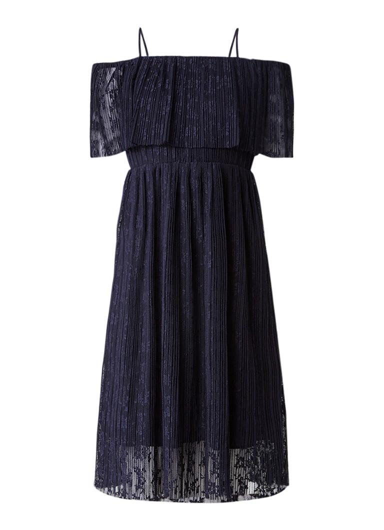 Whistles Off shoulder midi-jurk van kant donkerblauw